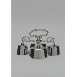 Quadruple altar bell, brass, nickel-plated