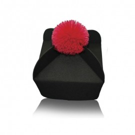 3 or 4 wing biretta (black with red / purple pom pom)